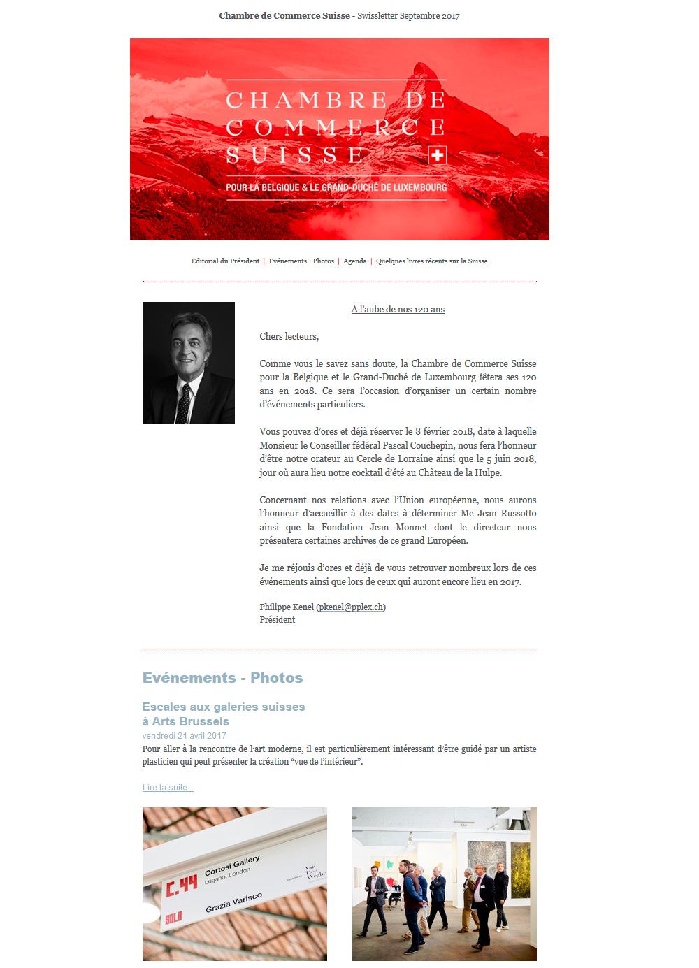 Accueil chambre de commerce suisse pour la belgique et for Chambre de commerce suisse